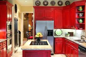 Red Kitchen White Cabinets Island Glass Lighting Fixtures And Bu Thick