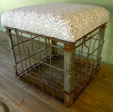 Metal Milk Crate With Padded Seat Top Beige By Southernempire