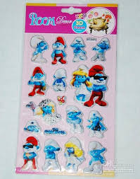 Kids 3D Foam Stickers Room The Smurfs Cat Mouse Cartoon Decor Self Adhesive Wall Paper Toys