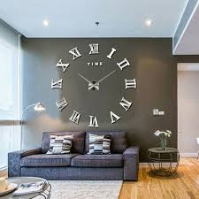 NEW Modern 3D Mirror DIY Large Wall Clock Surface Sticker Home Office Decor Unbranded