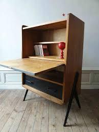 bureau teck massif bois armoire bureau secretaire design tiroirs en teck