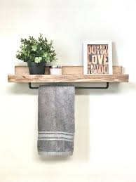 Bathroom Rack Rustic Wooden Ledge Shelf Shelves Home Decor Towel