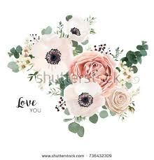 Floral Card Vector Design Garden Flower Lavender Pink Peach Rose White Anemone Wax Green Eucalyptus