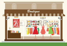 Clothing Store Building And Interior With Products On Shelves Shopping Fashion Bags Shoes