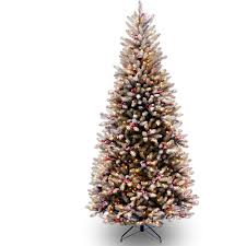 Flocked Artificial Christmas Trees Sale by National Tree Pre Lit 7 1 2 U0027 Carolina Pine Hinged Artificial
