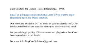 Case Solution Choice Hotels International 1995 YouTube