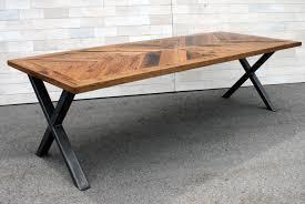 Custom Made Tobacco Oak Chevron Dining Table With Steel X Legs