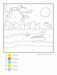 Printable Coloring Page For Color By Number Alligator