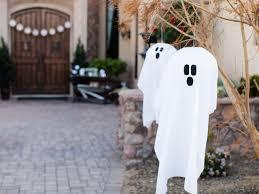 Diy Halloween Tombstones Plywood by Outdoor Halloween Decoration Hanging Ghosts Hgtv