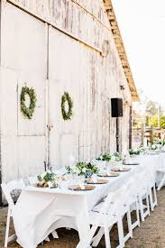 Rustic White And Green Outdoor Barn Wedding Table Ideas