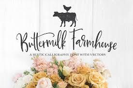 Buttermilk Farmhouse Type Graphics Script Fonts Creative Market