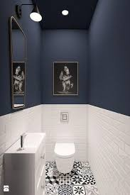 gäste wc boden gemusterte fliesen schwarz weiß