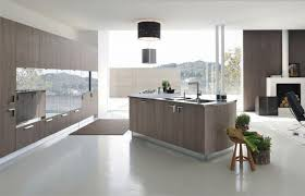 Modern Open Kitchen With Angled Island On White Vinyl Floor Also Glass Door Pantry Cabinet In Design Your Own Ideas