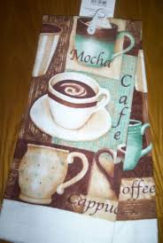 New Kitchen Dish Towel Or 2 Potholders Cafe Mocha Coffee Cup Brown Teal