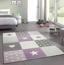 kinderteppich teppich kinderzimmer mit herz in lila grau creme größe 80x150 cm
