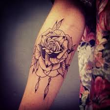 Attractive Rose Tattoo Design For Forearm