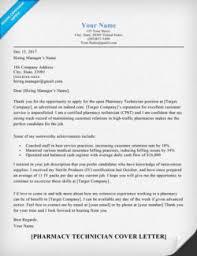 Cover Letter Sample for Pharmacy Technician