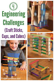 Cubicle Decoration Ideas For Engineers Day by 4 Engineering Challenges For Kids Cups Craft Sticks And Cubes