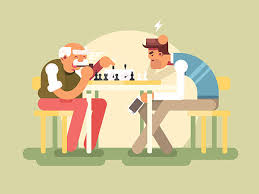 People Play Chess Vector Art Illustration