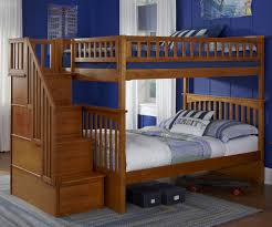 Colorado Stairway Bunk Bed by Bedroom Wooden Bunk Beds With Stairs Plus Drawers And Blue Wall