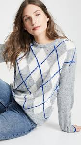 Cupcakes And Cashmere Knit Indy Sweater Argyle Pattern Pullover