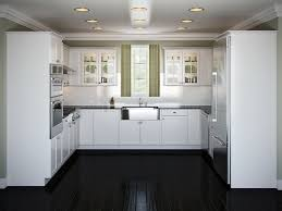 Elegant L Shaped White Kitchen Design Combine Dark Flooring Modern Task Light Also Ceiling Lamps