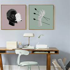 HAOCHU Arrows Through Hand Man Head Arts Picture Aesthetic Craft Canvas Painting For Home Decor Coffee Shop Poster On Wall In Calligraphy From