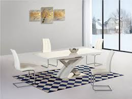 Modern Dining Room Sets Uk by White Extending Gloss Dining Table And 6 Chairs Homegenies 2017