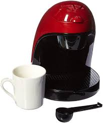 Compact Modern Looking Black And Red Single Serve Coffee Maker By Brentwood