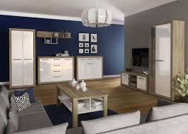 wohnzimmer einrichtung wohnzimmer komplett set b madryn 7 teilig farbe eiche sonoma weiß hochglanz