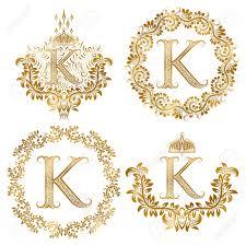 Golden Letter K Vintage Monograms Set Heraldic Monogram In Coats