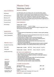 Marketing Analyst Resume Example Sample Template Sales