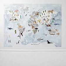 Watercolor World Map Decal In Wall Art Decor Reviews