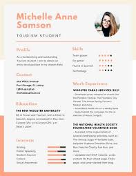 Peach And Orange Simple College Resume Use This Template