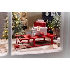 deko objekt schlitten weihnachtsdeko holz rot schaufensterdeko l74 x b31 x h16cm