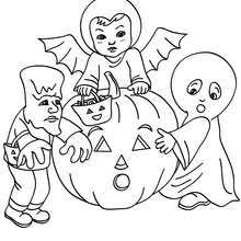 Mummy Monster And Witch Halloween Costumes Coloring Page