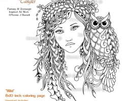 Wild Woodland Fairy Owl Tangles Adult Printable Coloring Sheet Page By Norma J Burnell 8x10