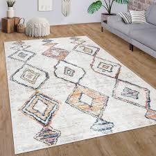 teppich wohnzimmer kurzflor modernes rauten ethno boho 3d muster creme bunt