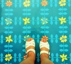 Retro Blue Mary Vinyl Floor Tiles By Zazous To Go
