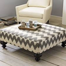 Big Ottoman Coffee Table – Sturdy Wooden Legs Gray Carpet Area