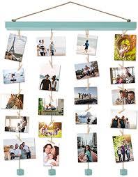 vencipo holz bilderrahmen collagen für wand deko wohnzimmer blau hänge fotorahmen organizer mit 24 mini wäscheklammern natur dekoration für