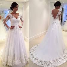 white vintage wedding gowns lace long sleeve open back a line