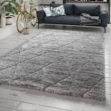 hochflor teppich wohnzimmer rauten design grau