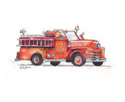 100 Fire Truck Wall Art Print Nursery Print Man Gift