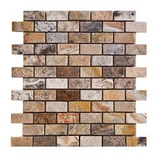 1x2 scabos honed and unfilled travertine brick mosaic tile 6 x