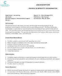 Payroll Coordinator Job Description Samples Sample Retail Sales