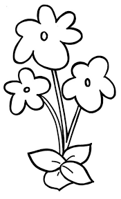 Easy Violet Flower Coloring Page For Preschool