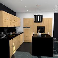 plan central cuisine cuisine bois brut traditionnelle façade à cadre en u avec ilot