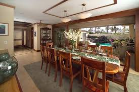 Tropical Dining Room Furniture With Area Rug Baseboards Beige