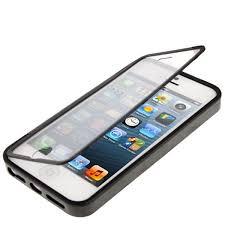 coque de protection iphone 5 et iphone 5s noir a clapet